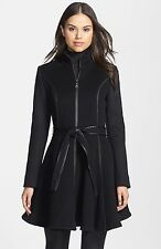 Dawn Levy  Black Fergie Leather Trim Belted Wool Coat Size:M $865 NWT