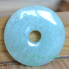 Natural Crystal Gemstone Green New Jade Flat Round Donut Pendant