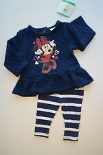 NWT DISNEY BABY MINNIE MOUSE 2Pc Top & Leggings Outfit Set Blue White Girls 3-6M