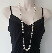 """Beautiful 36"""" long silver tone chain - Cream & faux pearl  bead necklace  #308"""