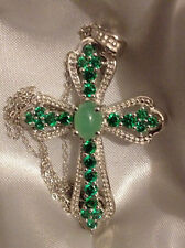 """CHRYSOPRASE & GREEN CZ CROSS PENDANT IN PLATINUM/STERLING SILVER WITH 20"""" CHAIN"""