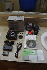 NIKON D80 DSLR CAMERA BLACK BODY PACKAGE LENS BATTERY CHARGER MANUALS STRAP CAPS