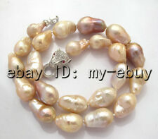 Natural Pink Lavender Keshi Keishi Baroque Pearl Necklace Silver Leopard Clasp