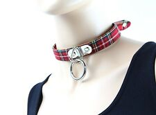 Sexy Red Plaid Bondage O Ring Choker Punk Goth Alternative Fetish Collar