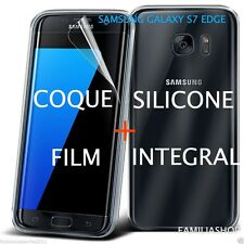 Coque transparente souple silicone samsung galaxy S7 edge + film integral entier