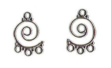 Sterling Silver swirly CHANDELIER earring parts connectors , 1 PAIR