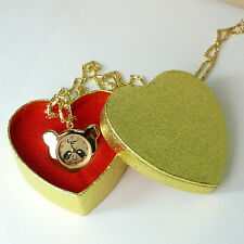 #00034 GOLD QUARTZ NECKLACE WATCH PANDA SHAPE HEART GIFT BOX MADE IN KOREA
