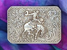 Western Rodeo Cowboy Decor ~Silver Bronc Rider~ Buckle