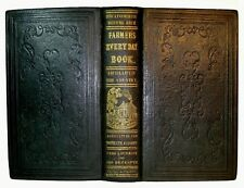1851 Antique FARM GUIDE & COOKBOOK Homesteading RURAL LIFE Pioneer West LEATHER