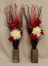 ARTIFICIAL SILK RED AND CREAM FLOWER BOUQUETS IN WOOD VASES ( SET OF 2 )