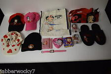 Lot of Betty Boop Merchandise - Caps, Bag, Purse, Wallet, Slippers, Tins + More