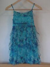 Justice for Girls Size 10 Blue Many Layered Ruffles Turquoise Blue Sequined Sund
