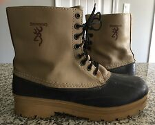 Browning Tan Black Leather Rubber Rain Winter Boots Men Sz 13 Made in Canada