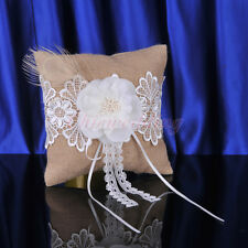 Pearls Flower Wedding Bridal Ring Pillow Burlap and Lace Ring Bearer Cushion