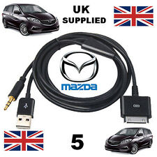 Mazda 5 Replaces C860V6572B iPhone iPod USB & 3.5mm Aux Cable replacement Black