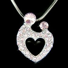 w Swarovski Crystal ~Purple MOM Mother Love Baby Child Kids Heart Necklace Gift