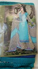 BOLLYWOOD DESIGNER SALWAR KAMEEZ TEAL GREEN COTTON EMBROIDERED ,THREAD WOK SUIT