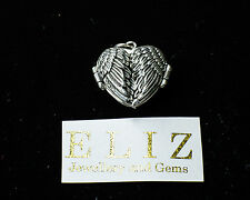 Angel Wings Heart Locket Pendant 925 Sterling Silver Guardian Memorial, 7 gramm