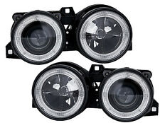 Angel Eyes Headlights set in black with a crosshair for BMW 3 Series E30 82-94