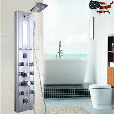 "46"" Bathroom Aluminum Shower Panel Thermostatic Tower With 10 Massage Jets US"