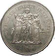 1977 France Liberté, égalité, fraternité HERCULES 50 Francs Silver Coin i52425