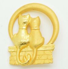 Vintage Signed JJ JONETTE JEWELRY Two Cat Brooch Pin Gold Tone
