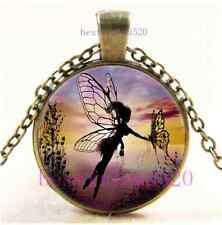 Vintage Fairy Butterfly Photo Cabochon Glass Dome Bronze Pendant Necklace