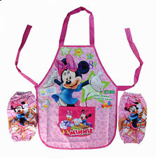 Disney Minnie mouse Childrens Kids Painting Cooking cake Bento Apron + 2 sleeves