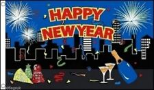 Happy New Year Fireworks Christmas Banner 5'x3' Flag