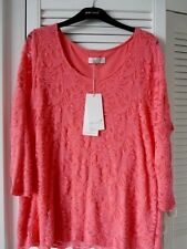 M&S Per una cotton blend coral lacey top size 20  BNWT