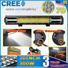 CREE 7D 20Inch 300W 3 Tri-Row FLOOD SPOT DRIVING LED LIGHT BAR OFFROAD TRUCK ATV