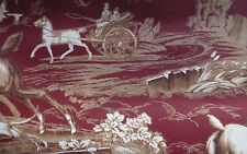 Wallpaper Red Toile Hunt Scene Brown Cream CAREY LIND York EP7106 DOUBLE ROLLS