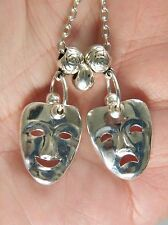 "DRAMA ACTING Necklace Tragedy Comedy Masks Broadway Theater Faces 25"" Silver NEW"