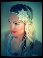 Silver White Pearl Flower Diamond Diamante Hair Head Band Tiara 1920s Choochie