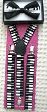 Piano keys Adjustable Bow tie & Piano Keyboard Adjustable Suspenders- New In Pkg