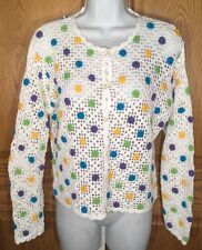 HANNA ANDERSSON 160 M White Floral Crocheted Button Cardigan Sweater Open EUC!
