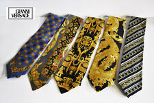 Vintage VERSACE 1993 Couture Silk Tie Set Collection Gold Baroque Medusa Rare