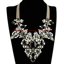 Hot Vintage Gold Chain Gray Black Resin White Pearl Glass Statement Bib Necklace