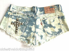 Vintage Levi Acid Wash Blue Denim Cut Off Shorts. Studded Cross - Sz 14  W32""