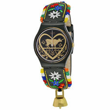 Swatch GB285 Women's Black Dial Floral Leather Strap Swiss Watch