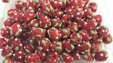 10 yummy nouveauté fraise fruit lampwork perles en verre - 10mm