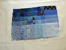 100 2-INCH CALICO FABRIC QUILT SQUARES - BLUE - 50 DIFFERENT PRINTS