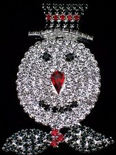 SILVER PRONG SET HOLIDAY CHRISTMAS WINTER FROSTY THE SNOWMAN PIN BROOCH 2 3/4