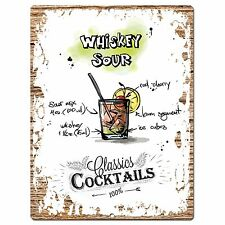 PP0683 Cocktails Whiskey Sour Chic Plate Sign Home Bar Store Cafe Decor Gift