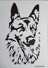 """Stencil Schablone Textilgestaltung Airbrush """"Schäferhund """" A 4 # S 029"""