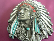 INDIAN CHIEF HEAD NAVAJO TRIBE WARRIOR NATIVE BELT BUCKLE BELTS BUCKLES FASHION