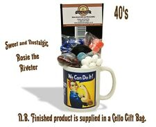 Rosie the Riveter Mug with a selection of 1940's Traditional Sweets.