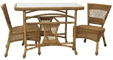 3pc. All Weather Wicker Cane/Rattan Chair & Table Breakfast Set