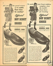1954 General Shoe Corp Official Boy Scout Shoes & Boots 2 Different Print Ads