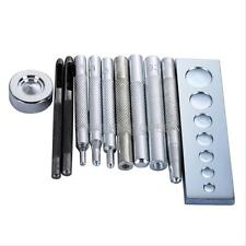 11pcs Die Punch Hole Snap Rivet Button Setter Base Kit For Leather Working Tool